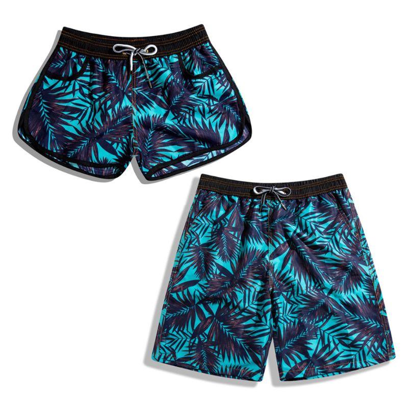Men Women Couples Swimwear Beach Shorts Summer Coconut Tree Leaves Print Surfing Swim Trunks Drawstring Boardshorts With Pockets