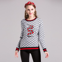 2017 Autumn Winter Jacquard O Neck Embroidery Wool Pullover Sweater Women Fashion Snake Full Sleeve Cashmere