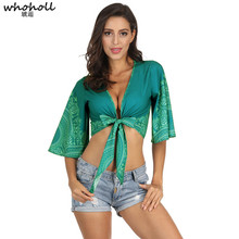 WHOHOLL Summer Short Tops Vintage Peacock Floral Print Kimono Women 2019 Fashion Batwing Sleeve Beach Shirt Blouse Blusa Mujer