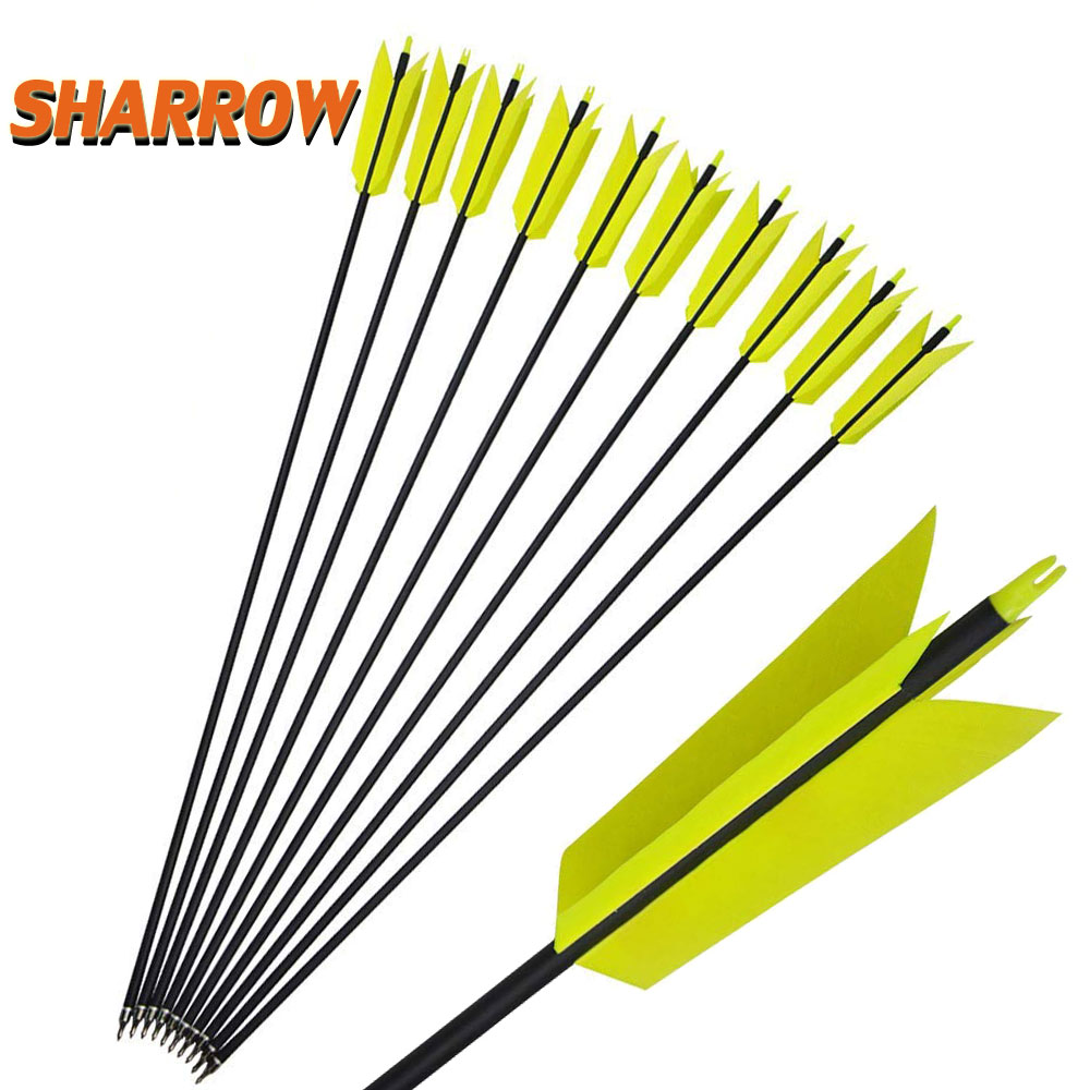 <font><b>6</b></font>/12pcs Spine <font><b>400</b></font> Archery Carbon Arrows Target Flu-Flu Arrows 30 inch with 4 Turkey Feathers Replaceable Field Tips for Hunting image