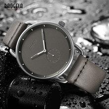 Baogela Модные Простые кварцевые часы для мужчин ультра тонкие аналоговые наручные часы для мужчин кожаный ремешок водонепроницаемый 1806g-серый