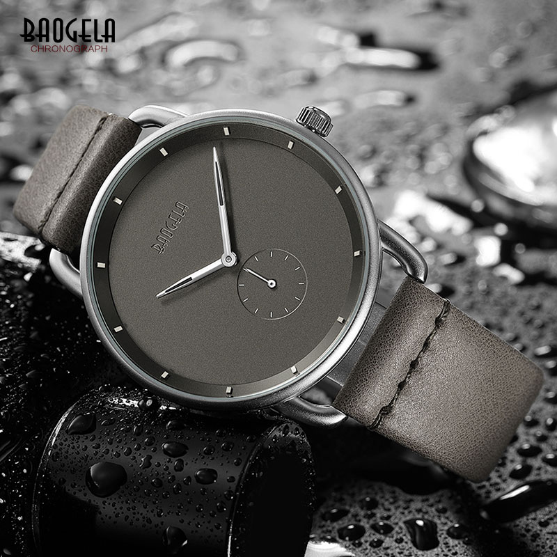 Baogela Fashion Simple Quartz Watches For Men Ultra Thin Analogue Wrist Watch For Man Leather Strap Waterproof 1806G-Gray