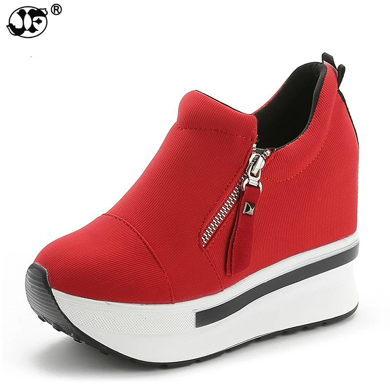 spring autumn fashion platform shoes with zip casual sweet sneakers shallow women shoes size 35-40 fgy