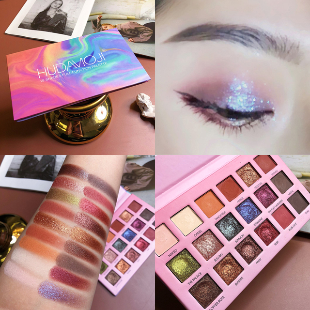 18 Colors Matte Pearlescent Pigment Glitter Powder Eyeshadow Palette Shimmer Waterproof Eye Shadow Primer Makeup Highlight TSLM2 5