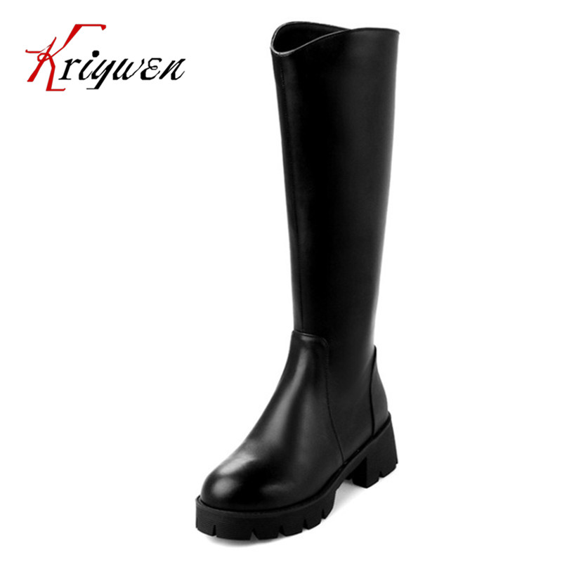 New women knee high boots cowhide leather genuine motorcycle boots Leisure winter chunky med heels zipper martin party shoes woman real leather boots 2015 new winter boots black apricot zipper fashion martin boots 34 39 comfortable women knee high boots