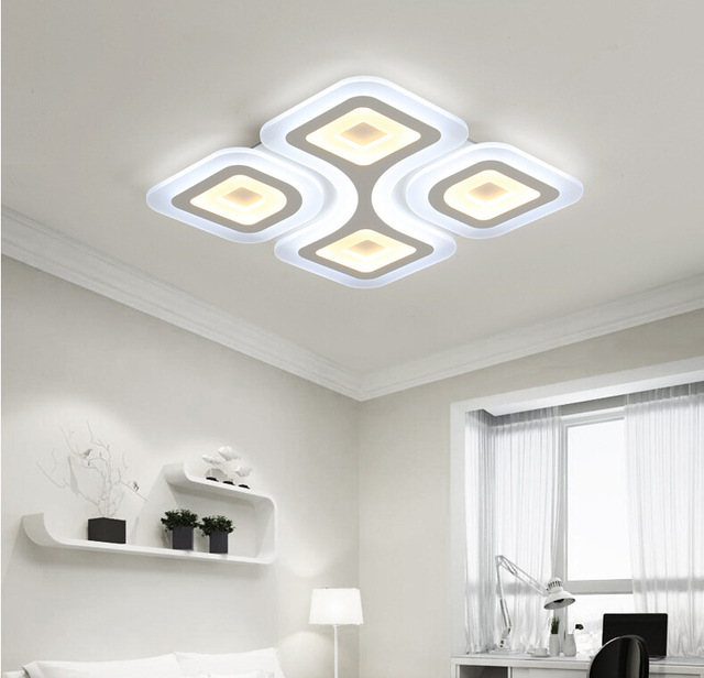 Modern Square Led Ceiling Light Acrylic Living Room Bedroom Lamp Indoor Home Decor Lighting Fixture