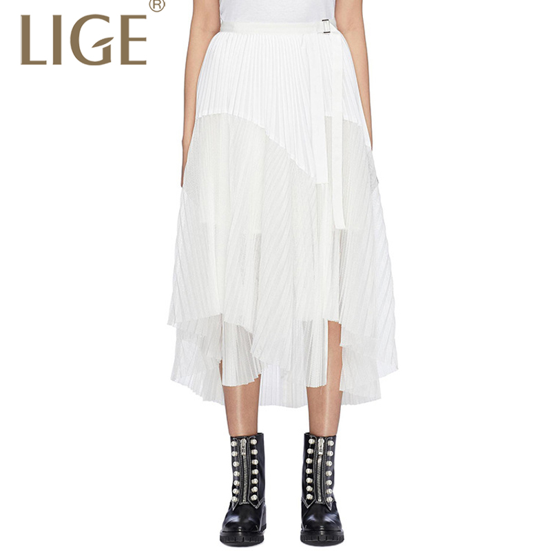Tulle Patchwork Skirts For Women Spring Mesh splicing irregular Mesh splicing irregular asymmetrical pleated skirt tFashion