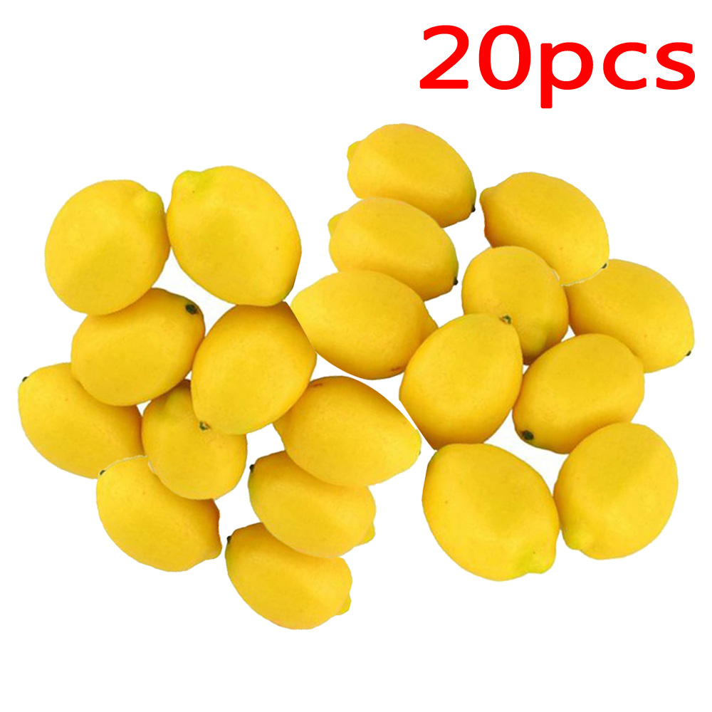 7.4*5CM 10/20pcs Artifical Lemons Fruit Fake Photographic Prop Home Decoration Plastic+Foam(China)