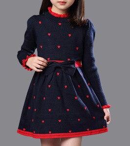 Image 1 - Зимнее Хлопковое платье с высоким воротом для девочек, платье принцессы с длинными рукавами, детская одежда красного, синего цвета