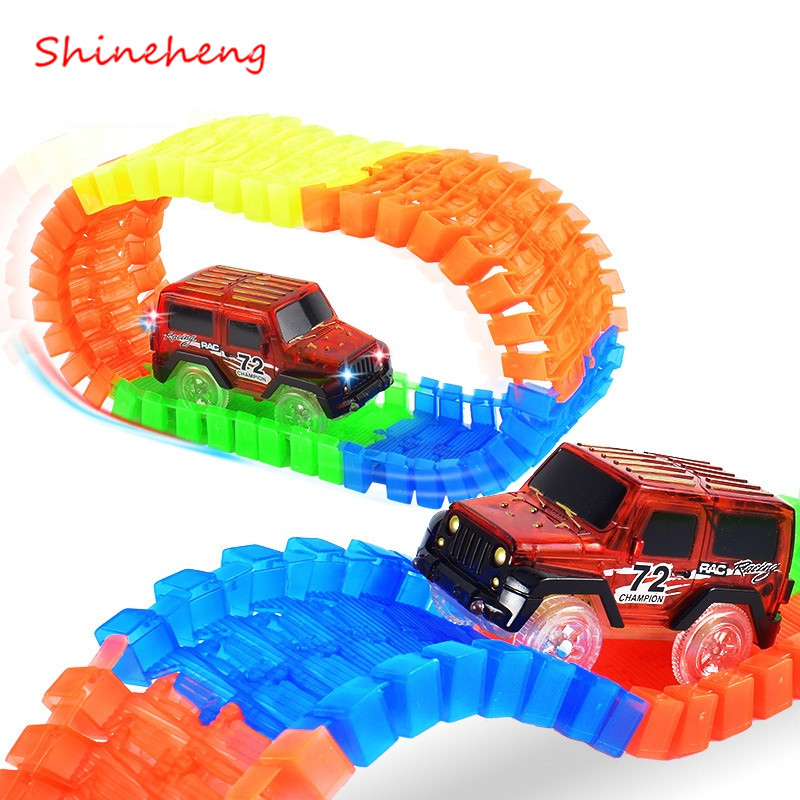 Shineheng Miraculous Track Bend Flex Glow in the Dark Assembly Toy 56/112pcs Glow Race Stunt Track Set + 1pc LED Car  280pcs miraculous race track bend flex car toy racing track set diy track electric rail car model set gift for kids
