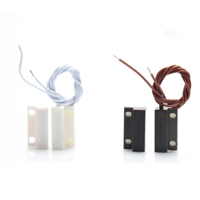 10 pièces MC-38 capteur de fenêtre de porte filaire interrupteur magnétique pour système d'alarme domestique, lorsque le capteur est ensemble, normalement fermé NC