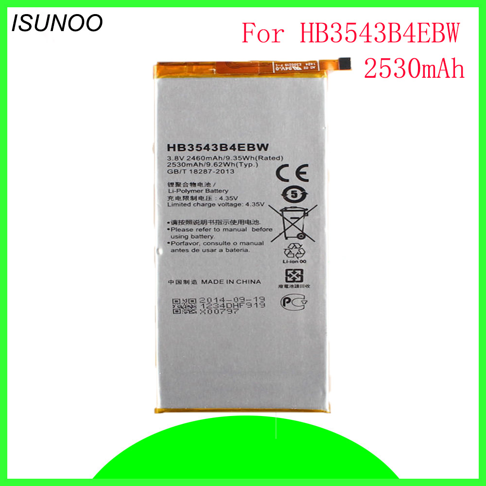 ISUNOO HB3543B4EBW Rechargeable Li-ion phone battery For <font><b>Huawei</b></font> Ascend <font><b>P7</b></font> <font><b>L07</b></font> L09 L00 L10 L05 L11 replacement battery 2460mAh image