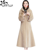 UHYTGF M 3XL luxury Sheep Sheared Wool Coat Female Winter Fur jacket Mink Sleeve Fox fur collar Hooded long Fur Outerwear 1031
