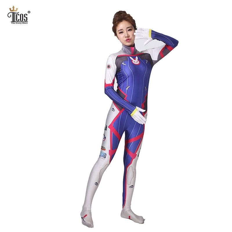 D.va Cosplay Kostym Dva Kostym Spandex Lycra Zentai Bodysuit Kvinna - Maskeradkläder och utklädnad
