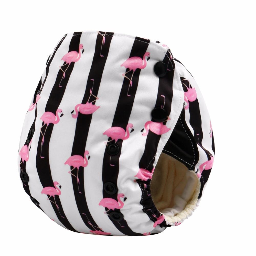 Fashion Flamingo!JinoBaby Newborn Nappy Diaper Washable - AIO Bamboo Care For Babies
