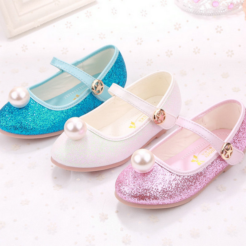 Pearl shoes girls leather princess shoes girls flats princess shoes children girl leather party wedding shoes