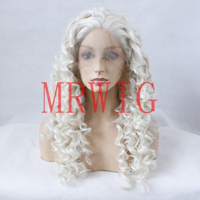 MRWIG бесплатная часть сексуальная вьющиеся синтетический Glueless парик фронта #60 светлые волосы Цвет 24 inch Настоящее волосы прозрачный кружева