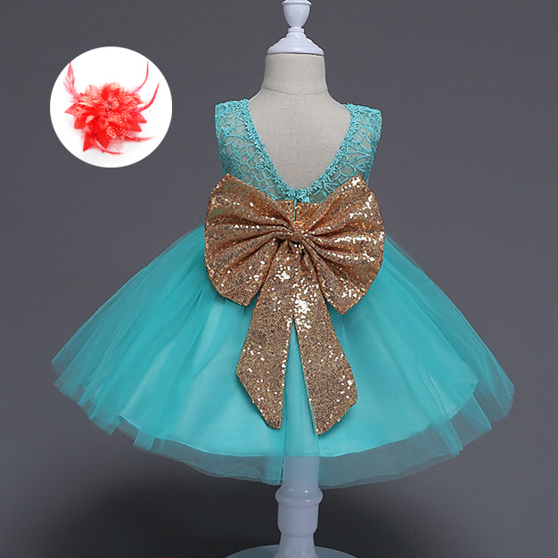Cute Children Princess Clothes Kids Dresses for Little Girls Big Bow Gold Sequins Baby Flower Girl Dress Backless Party Gown new fashion embroidery flower big girls princess dress summer kids dresses for wedding and party baby girl lace dress cute bow
