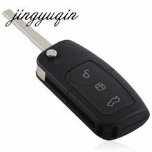 Jingyuqin 10 шт./лот 3 Кнопка флип складной Ключи В виде ракушки дистанционного FOB Крышка для Ford Focus Fiesta c KA без логотип
