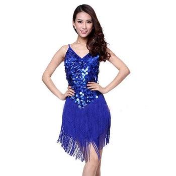 Latin Dance Tassel Dress Sequin Fringe Elegant Sexy Women Tango Ballroom Salsa Stage Costumes