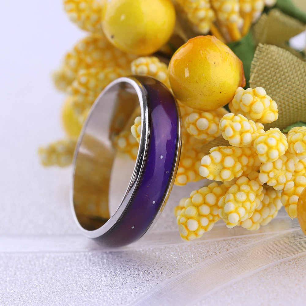 1 pc quente de aço inoxidável magia humor anel temperatura mudando cor emoção sentimento anéis para mulher/homem casal anel jóias
