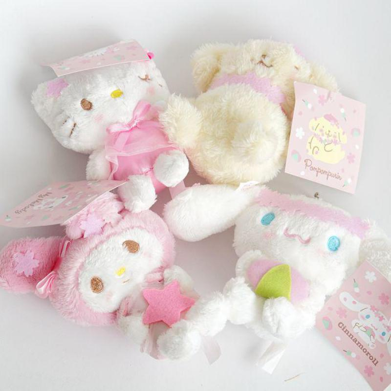 Cherry blossoms Hello Kitty My Melody Cinnamoroll Pudding Dog Plush Toy Soft Stuffed Animal Doll Pendant For Girls Children Gift stuffed toy