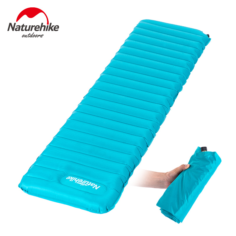 NatureHike Manually Inflating Camping Mat Tent Air Mattress Bed Outdoor Inflatable Sleeping Pad Thick 9cm naturehike inflatable camping mat sleeping pad utralight inflating air mattress single tent bed with pillow