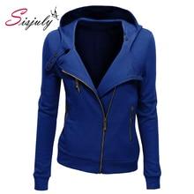 Sisjuly solid color hooded jacket long sleeve women's hoodies sweatshirts black zipper autumn winter outerwear coats fashion