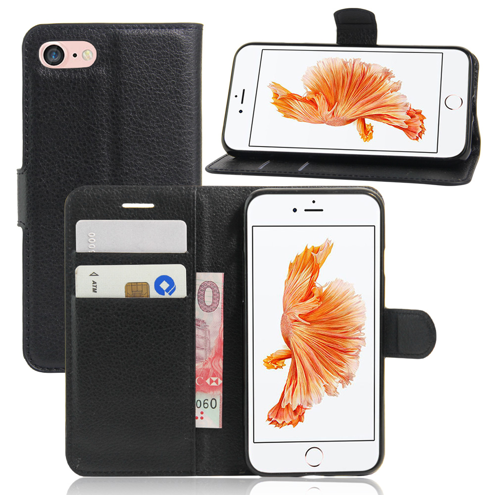 Business Case For iPhone 7 Case Black Wallet PU Leather Cover For iPhone 7 4.7 Magnetic Filp Holder Stand Fundas Case