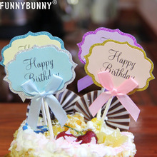 FUNNYBUNNY Birthday Cupcake Toppers Glitter with Bow Birthday Cake Topper Anniversary Decoration funnybunny cupcake toppers gold glitter crown cake decoration dessert table birthday party decor