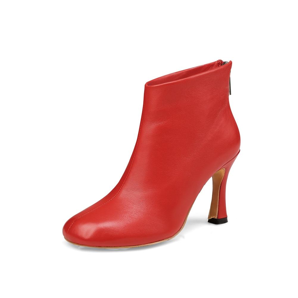 Oveja Beige Botas 2019 negro Alto Moda Genuino Fiesta De Tacón Tobillo rojo Venta Caliente Piel Karinluna Zapatos Mujer Cuero awPgPq