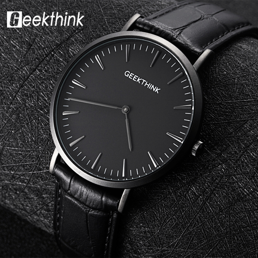 Men's Watch Top Brand Luxury Quartz watch Business Casual Black Japan quartz-watch Men genuine leather ultra thin clock male ultra luxury 2 3 5 modes german motor watch winder white color wooden black pu leater inside automatic watch winder