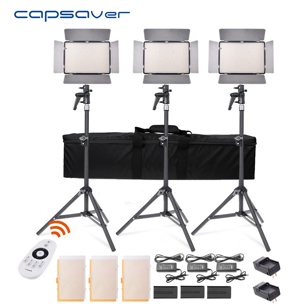 Capsaver TL-600S светодио дный видео 3 в 1 комплект фотографии освещения с штатив дистанционного Управление 600 светодио дный s 5500 К CRI 95 студийный све...