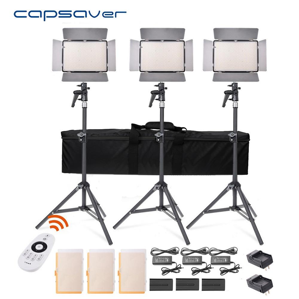 Capsaver TL-600S LED Vidéo Lumière 3 dans 1 Kit Photographie Éclairage avec Trépied Télécommande 600 LED 5500 k CRI 95 Studio Lumière