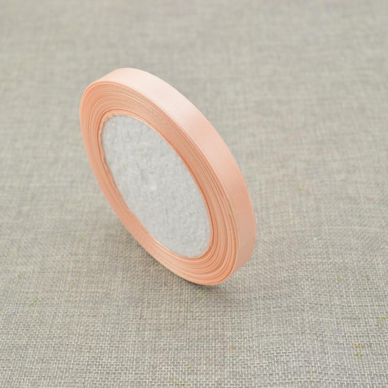 10 мм, 25 ярдов, шелковая атласная лента для свадебного автомобиля, ручная работа, Подарочная коробка для конфет, материалы для украшения, рождественские ленты - Цвет: Flesh pink