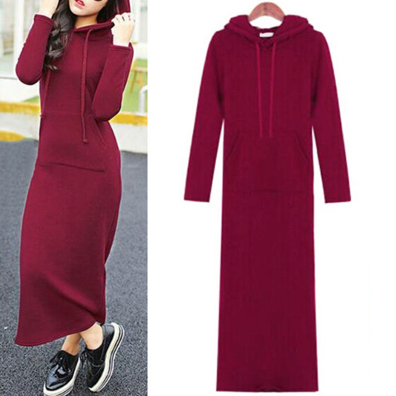 90fd7c35d2 2017 New Autumn Winter Casua Long Ankle length Maxi Dress Hooded Pockets  Long Sleeve Hoodies Dresses A line Tunic Tshirt Vestido-in Dresses from  Women s ...