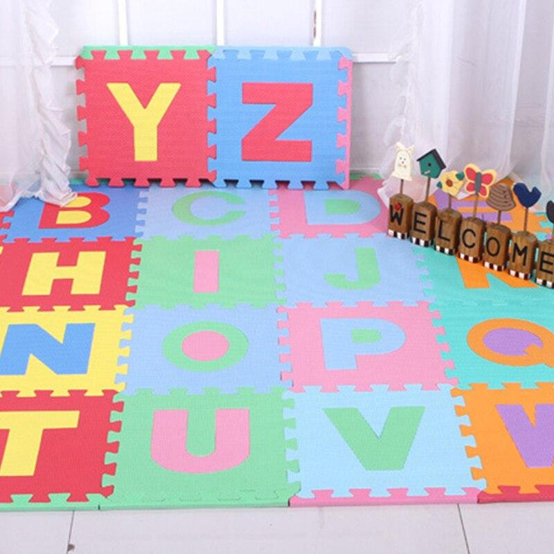 HziriP 26 PCS Enfants de Puzzle Tapis Bébé Tapis de Jeu Ensembles Coloré Alphabet Couture Puzzle Tapis De Sol En Mousse Enfants Enfants jouets