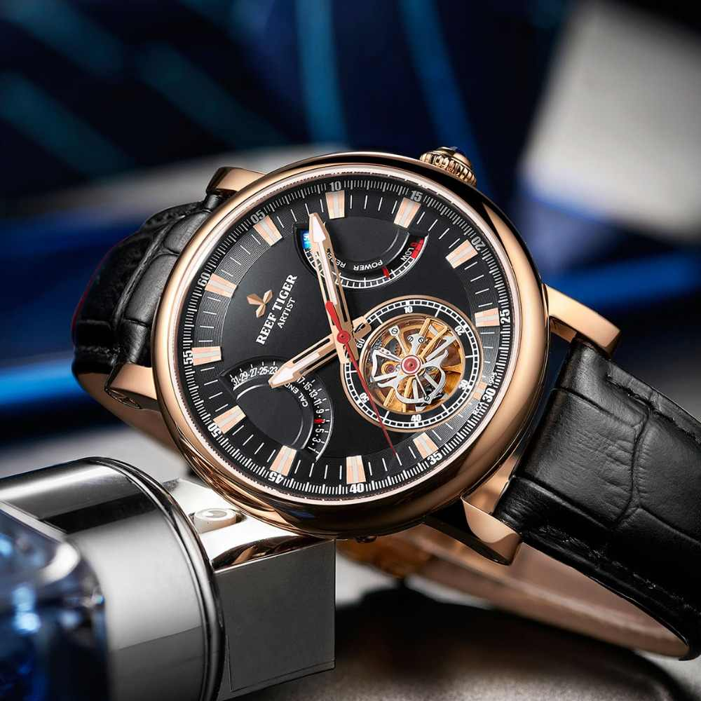 Reef Tiger Rt Luxury Brand Mens Watches Rose Gold Black Dial Sapphire Glass Automatic Watches Brown Leather Strap Watch Rga1950 Mechanical Watches Aliexpress