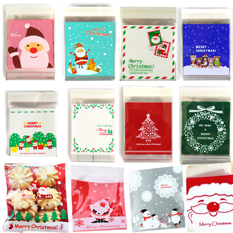 25 pçs/lote bonito dos desenhos animados presentes sacos de natal biscoito embalagem auto-adesivo sacos de plástico para biscoitos pacote de bolo de doces de aniversário