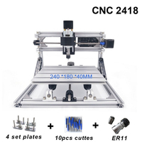 CNC 2418 with ER11 CNC Engraving Machine Pcb Milling Machine Wood Carving Machine Mini Laser CNC Router Best Advanced Toys