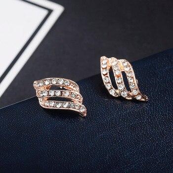 Fashion Gold Color Simple Crystal Stud Earrings Women Wedding Jewerly Bridal Earrings 2
