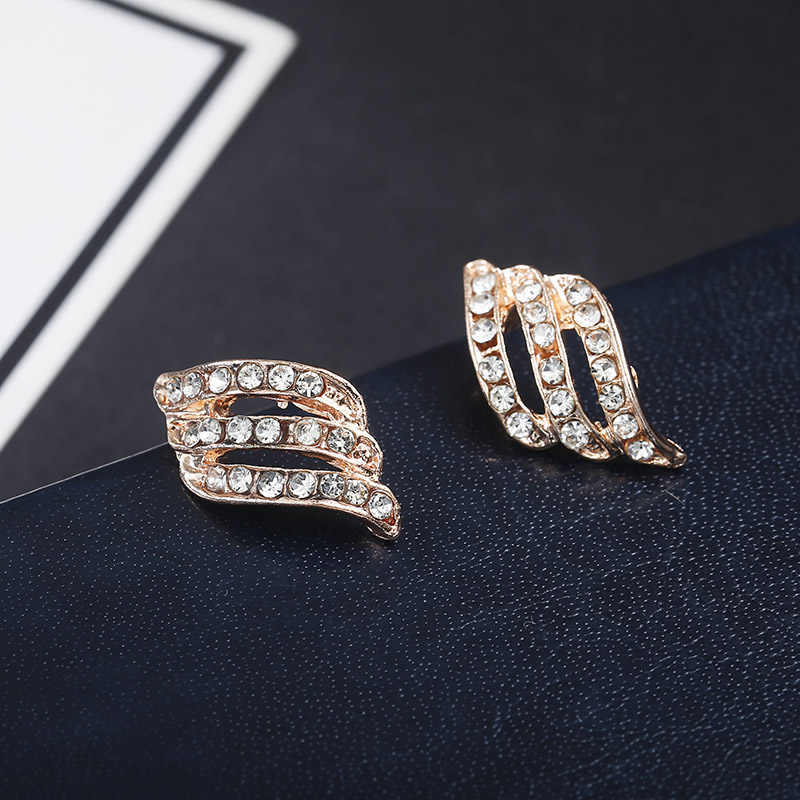 Fashion Gold Color Korean Style Simple Crystal Stud Earrings For Women Wedding Jewerly Bridal Engagement Earrings Female Gifts