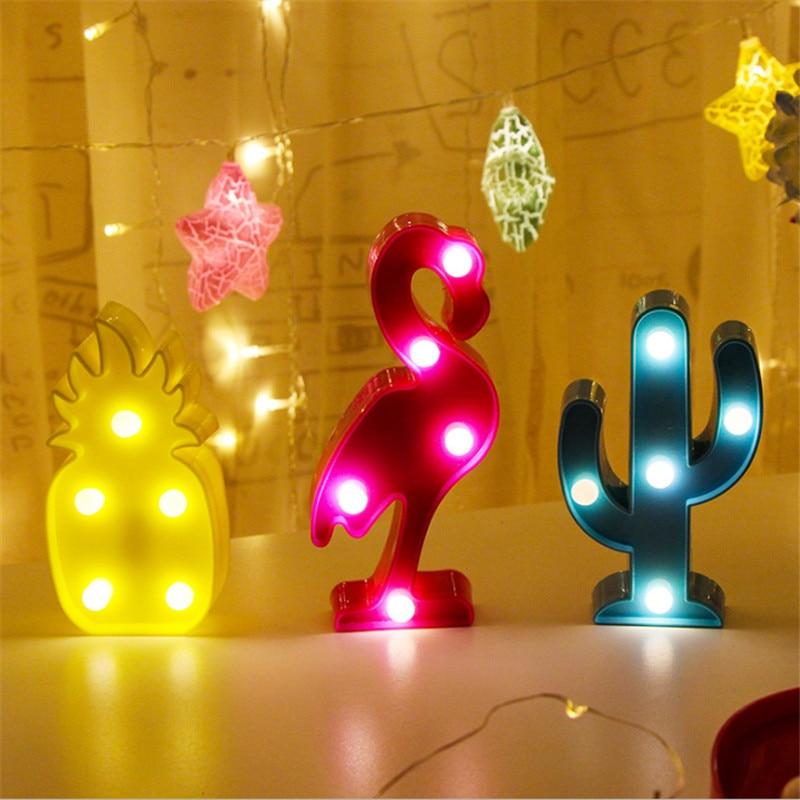 Flamingo Party Mini Flamingo Pineapple Cactus 3D Lights Cartoon LED Night Lamp Baby Shower Bedroom Decor Birthday Kids Gift-S