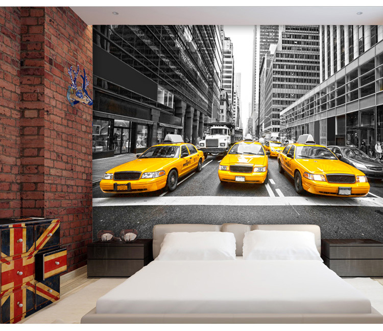 Custom photo wallpaper New York Streets taxis 3D stereoscopic TV backdrop wallpaper bedroom wallpaper mural custom photo wallpaper luxury 3d stereoscopic vase entrance corridor aisle backdrop wall decoration painting mural de parede 3d