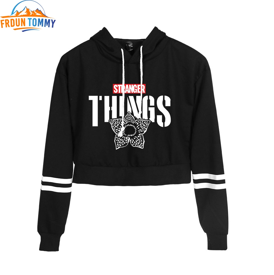 Stranger Things Fashion Long Sleeve Cropped Hoodies Women Hooded Pullover Crop Tops 2019 New Arrival Hot Sale Streetwear Clothes