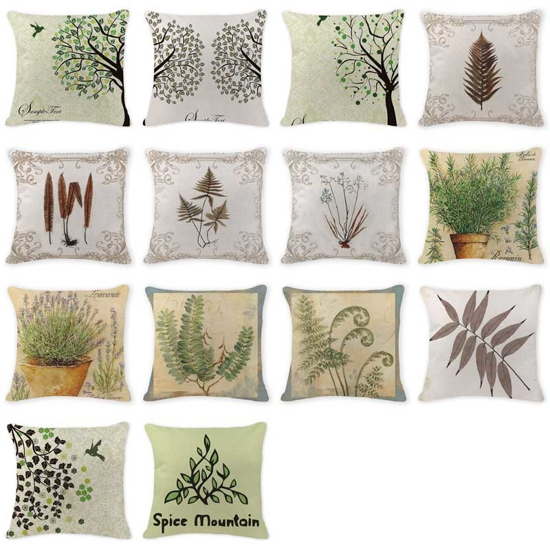 Luxury Cushion Case Scandinavian Leaves Pillow Case Office Square Cotton Linen Car Home Decorative Feather Throw Pillow Covers