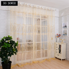 Yellow Plum Blossom Flower Curtains for Bedroom Living Room Window Light Shading Floral Pattern Decoration tulle on the windows