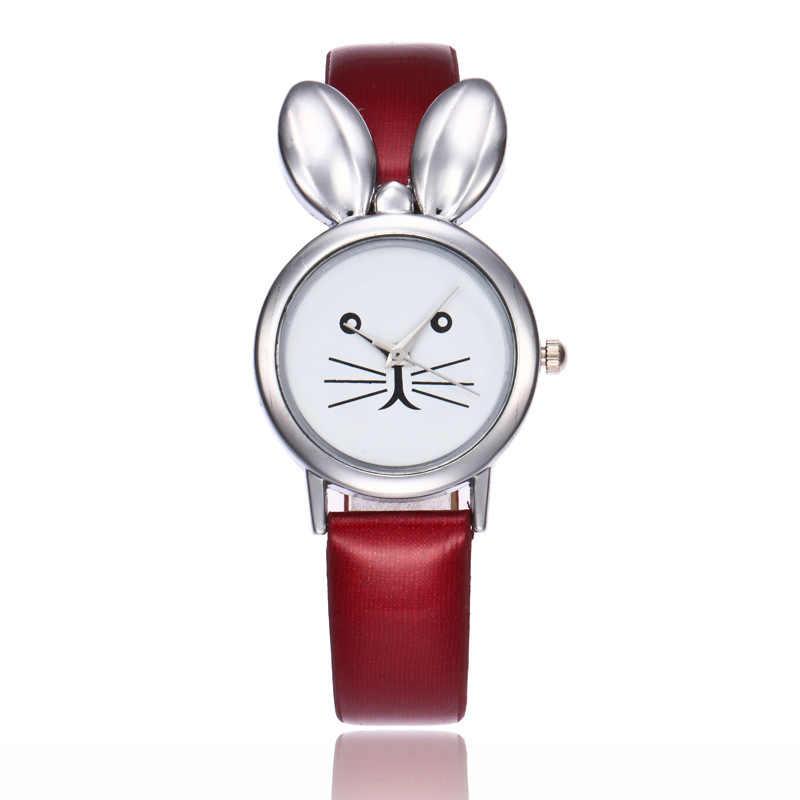 Relojes mujer 2019 Karikatür Saatler Kadın Tavşan Gümüş Deri Bilezik Bilek Saatler Kadınlar Için quartz saat Bayanlar Saat Hediyeler