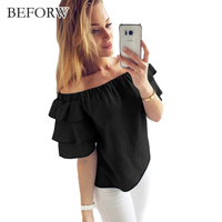 BEFORW Sexy Off Shoulder Summer Thin Section Women Blouse Casual Summer Blouses Shirt Female Clothing Blue