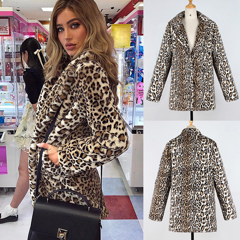 Faux Fur Women's Clothing Provided Women Winter Warm Leopard Faux Fur Coat 2019 Turn Down Collar Leather Grass Coat Artificial Fur Overcoat Coat Plus Size 6q2335 To Win Warm Praise From Customers